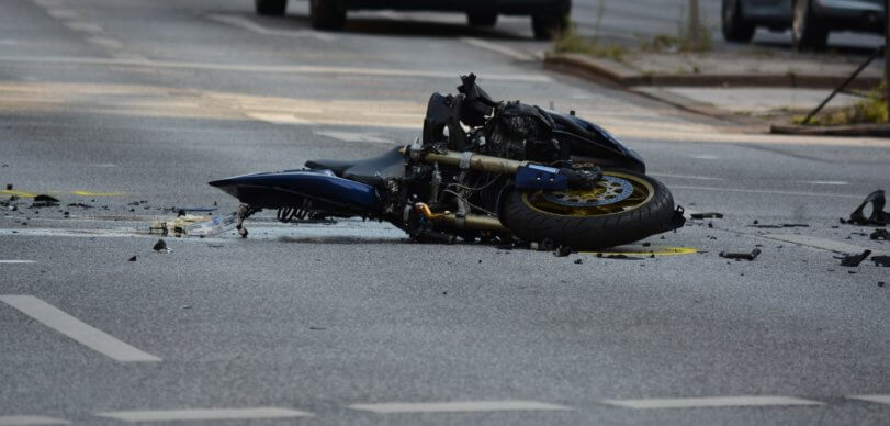 Motorcycle and SUV Collision